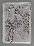 Silver Smalls:Cigarette Cases, A Russian Silver Cigarette Case with Bird Motif, Kiev, Ukraine,circa 1920. Marks: (v, right facing Kokoshnik, 84), (W, Mine...