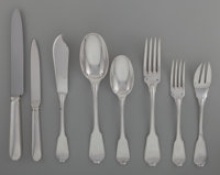 A Sixty-Four Piece Tetard Freres Silver Flatware Service for Eight, Paris France, circa 1910 Marks: T FRES<
