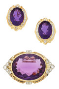 Estate Jewelry:Suites, Amethyst, Diamond, Platinum-Topped Gold, Gold Jewelry Suite. ...(Total: 3 Items)
