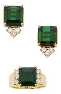 Estate Jewelry:Suites, Tourmaline, Diamond, Gold Jewelry Suite. ... (Total: 3 Items)