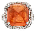 Estate Jewelry:Rings, Spessartite Garnet, Diamond, White Gold Ring. ...