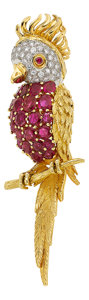 Estate Jewelry:Brooches - Pins, Ruby, Diamond, Gold Brooch, English. ...