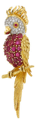 Ruby, Diamond, Gold Brooch, English