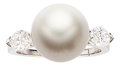 Estate Jewelry:Rings, South Sea Cultured Pearl, Diamond, Platinum Ring, Van Cleef &Arpels. ...