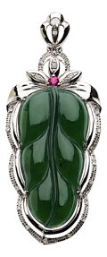 Estate Jewelry:Pendants and Lockets, Jadeite Jade, Ruby, Diamond, White Gold Pendant. ...