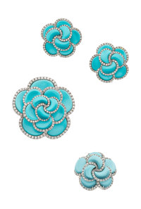 Turquoise, Diamond, White Gold Jewelry Suite