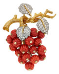 Estate Jewelry:Brooches - Pins, Coral, Diamond, Platinum, Gold Brooch. ...