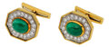 Estate Jewelry:Cufflinks, Emerald, Diamond, Platinum, Gold Cuff Links, David Webb. ...