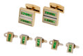 Estate Jewelry:Cufflinks, Gentleman's Emerald, Gold Dress Set, Adler. ... (Total: 7 Pieces)