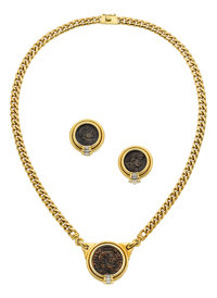 Ancient Coin, Diamond, Gold Jewelry Suite