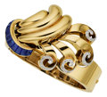 Estate Jewelry:Bracelets, Retro Sapphire, Diamond, Gold Bracelet, French. ...