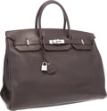 """Luxury Accessories:Bags, Hermes 40cm Havane Clemence Leather Birkin Bag with PalladiumHardware. E Square, 2001. Very Good Condition.15.5""""..."""
