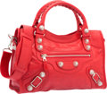 "Luxury Accessories:Bags, Balenciaga Rouge Coquelicot Red Lambskin Leather Giant 12 SilverCity Bag. Excellent Condition. 15"" Width x 9.5""Heigh..."