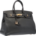 "Luxury Accessories:Bags, Hermes 35cm Black Clemence Leather Birkin Bag with Gold Hardware.J Square, 2006. Good Condition. 14"" Width x 10""..."