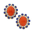 Estate Jewelry:Earrings, Coral, Lapis Lazuli, Diamond, Gold Earrings. ...