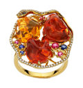 Estate Jewelry:Rings, Multi-Stone, Diamond, Gold Ring. ...