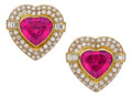 Estate Jewelry:Earrings, Rubellite Tourmaline, Diamond, Gold Earrings. ... (Total: 2 Items)