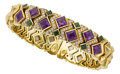 Estate Jewelry:Bracelets, Diamond, Garnet, Amethyst, Gold Bracelet. ...