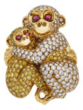 Estate Jewelry:Brooches - Pins, Colored Diamond, Diamond, Ruby, Gold Brooch. ...