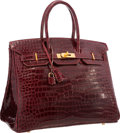 Luxury Accessories:Bags, Hermes 35cm Shiny Bordeaux Porosus Crocodile Birkin Bag with GoldHardware. I Square, 2006. Excellent Condition.1...