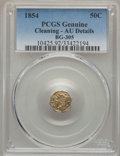 California Fractional Gold , 1854 50C Liberty Octagonal 50 Cents, BG-305, Low R.4, -- Cleaning-- PCGS Genuine. AU Details. PCGS Population (2/109). NG...
