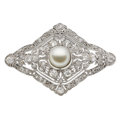 Estate Jewelry:Brooches - Pins, Art Deco Cultured Pearl, Diamond, Platinum Pendant-Brooch. ...