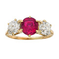 Estate Jewelry:Rings, Antique Spinel, Diamond, Gold Ring. ...