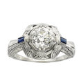 Estate Jewelry:Rings, Art Deco Diamond, Synthetic Sapphire, White Gold Ring. ...