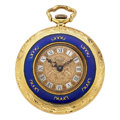 Estate Jewelry:Watches, Swiss Lady's Cultured Pearl, Enamel, Gold Pendant-Watch. ...