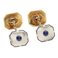 Estate Jewelry:Cufflinks, Art Deco Sapphire, Enamel, Platinum-Topped Gold Cuff Links. ...(Total: 2 Items)