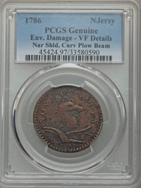 1786 COPPER New Jersey Copper, Narrow Shield, Curved Beam -- Environmental Damage -- PCGS Genuine. VF Details. NGC Censu...