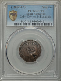 Saint Eustatius: British Occupation copper Countermarked Stuiver ND (1809-12) F15 PCGS