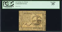 Continental Currency February 17, 1776 $2 PCGS Very Fine 35