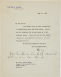 Autographs:U.S. Presidents, Harry Truman Typed Letter Signed as President With HolographicPostscript....