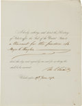 Autographs:U.S. Presidents, Ulysses S. Grant Document Signed as President....
