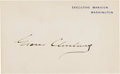 Autographs:U.S. Presidents, Grover Cleveland Signed White House Card....