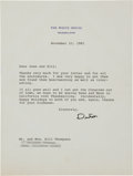 Autographs:U.S. Presidents, Ronald Reagan Typed Letter Signed....