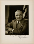 Autographs:U.S. Presidents, Harry Truman Signed Photograph....