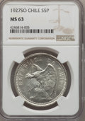 Chile, Chile: Republic 5 Pesos 1927-SO MS63 NGC,...