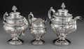 Silver Holloware, American:Tea Sets, A Three Piece Geraldus Boyce Coin Silver Tea Service, New York, NewYork, circa 1830. Marks: G. BOYCE, N.Y. 11 inches hi...(Total: 3 )
