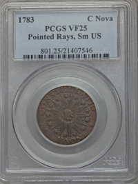 1783 COPPER Nova Constellation Copper, Pointed Rays, Small US VF25 PCGS. PCGS Population (14/137). NGC Census: (5/44)...