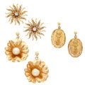 Estate Jewelry:Lots, Diamond, Cultured Pearl, Gold Earrings. ... (Total: 3 Items)