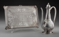 Silver & Vertu:Hollowware, A Tiffany & Co. Art Nouveau Acid-Etched Silver Coffee Pot and Footed Tray, New York, New York, circa 1892-1902. Marks: TIF... (Total: 2 Items)