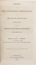 Books:Americana & American History, J[ohn]. C. Fremont. Report of the Exploring Expedition to theRocky Mountains in the Year 1842, and to Oregon and North ...