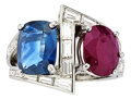 Estate Jewelry:Rings, Ruby, Sapphire, Diamond, Platinum Ring. ...