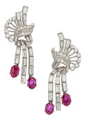 Estate Jewelry:Earrings, Diamond, Ruby, Platinum Earrings. ... (Total: 2 Items)