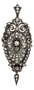 Estate Jewelry:Brooches - Pins, Antique Diamond, Silver-Topped Gold Pendant-Brooch. ...