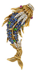 Estate Jewelry:Brooches - Pins, Multi-Stone, Diamond, Gold Brooch, Jean Schlumberger for Tiffany & Co.. ...