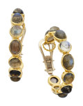 Estate Jewelry:Earrings, Labradorite, Gold Earrings. ...