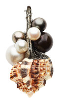 Estate Jewelry:Brooches - Pins, Shell, Cultured Pearl, Diamond, White Gold Brooch. ...